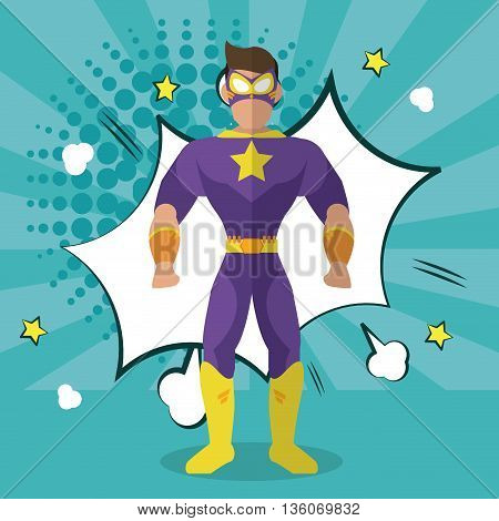 Superhero concept represented by male cartoon with disguise. Colorfull and flat illustration. Blue with explosion bubble background
