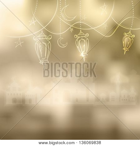 Ramadan Kareem islamic background outline Lamp sketch and silhouette mosque. Hanging illuminated lamp in contour, mosque and bokeh. Yellow blurred background with silhouette of mosque