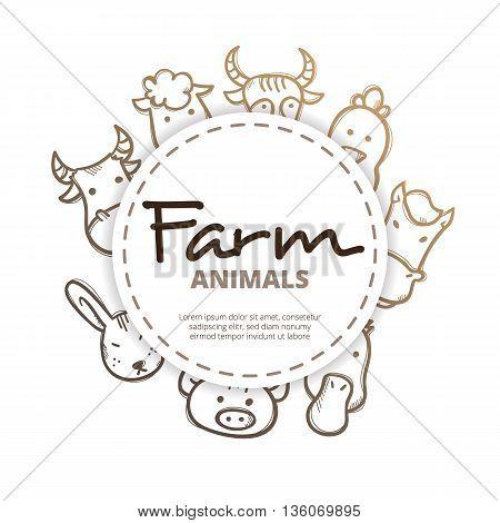 Vector farm animals icons circle composition. Farm life design concept in doodle style.