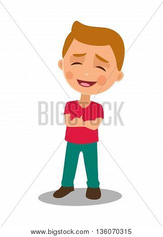 Child proud and happy. Vector flat color illustration isolated on white background.