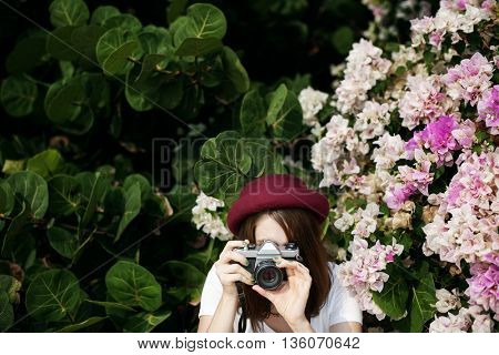 Girl Camera Photographer Focus Shooting Nature Concept