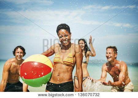People Friendship Play Beach Ball Summer Holiday Concept