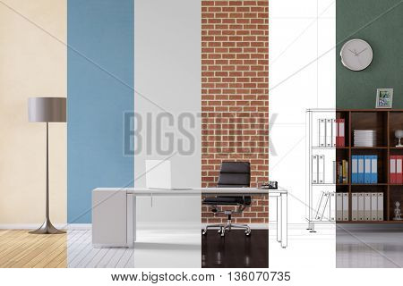 Planning and conception of modular office with different colors and materials (3D Rendering)