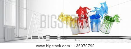 Colorful paint buckets during renovation in a room with CAD blueprints (3D Rendering)