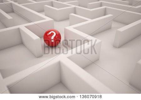 Red ball with question mark finding solutions in a maze (3D Rendering)