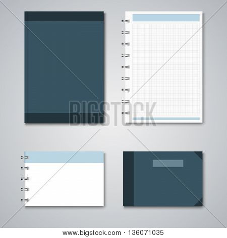 Collection blue and white notebooks template vector eps 10