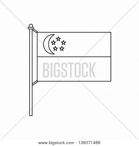 Flag of Singapore icon in outline style isolated on white background