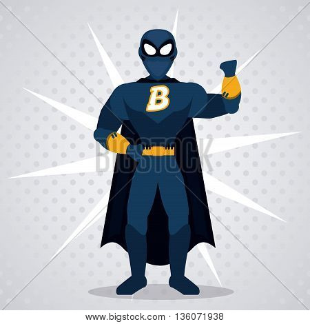 Superhero concept represented by male cartoon with disguise. Colorfull and flat illustration. Pointed background