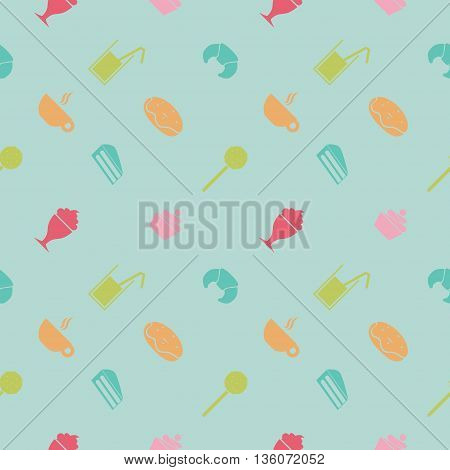 Vector. Sweet party pattern. Suitable for wrapping paper, packaging, web background etc. Flat design. Pink background, peach color objects.
