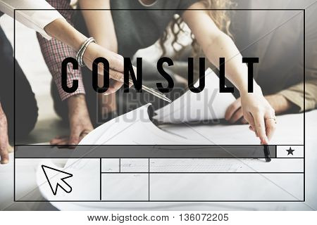 Consult Ask Service Sharing Information Concept