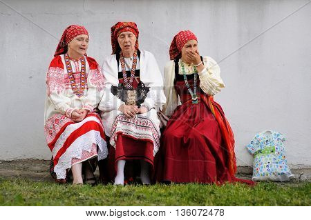 Orel Russia - June 24 2016: Turgenev Fest. Women in traditional Russian dresses and sarafans horizontal