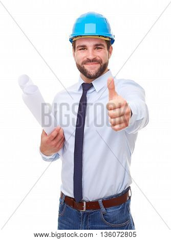 Businessman Architect With Hard Hat And Plan, Makes A Gesture With His Thumb Up On White Background
