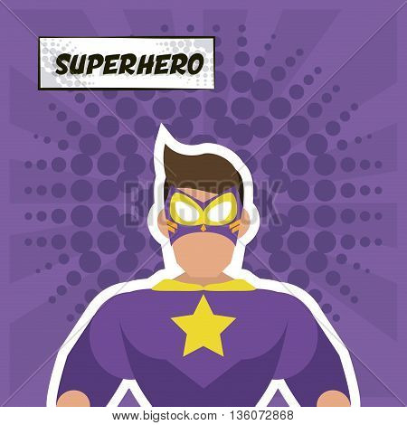 Superhero concept represented by male cartoon with disguise. Colorfull and flat illustration. Purple background