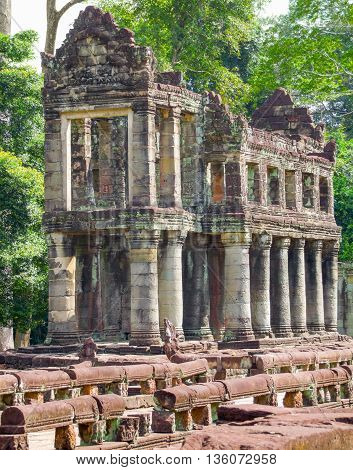 detail of the Preah Khan temple in Angkor located in Cambodia