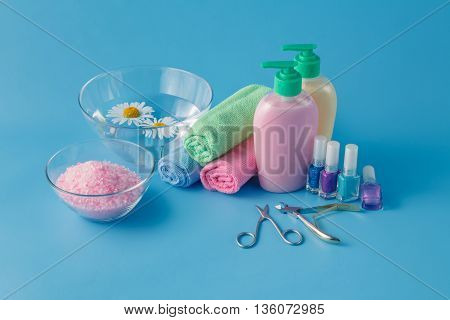 Accessories For Manicure On Table On Bright Background