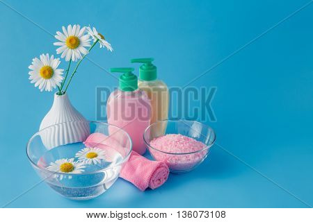 Beautiful Spa Setting With Daisy On Blue Table Close-up