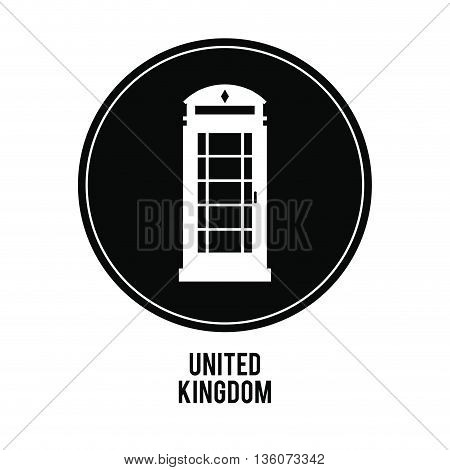 United kingdom concept represented by telephone over black circle icon. isolated and flat illustration