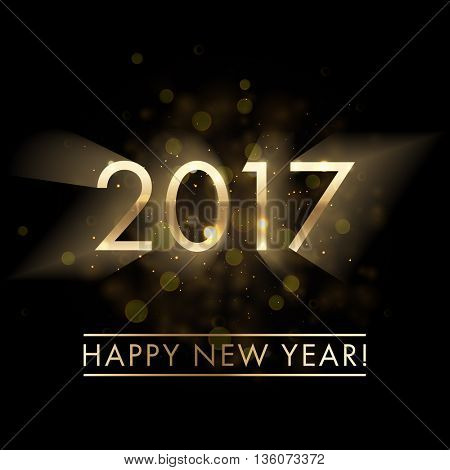 Gold New Year 2017 card. Happy New Year background with glowing effect sparkling stars texture. Star dust sparks in explosion on black background. Vector Illustration