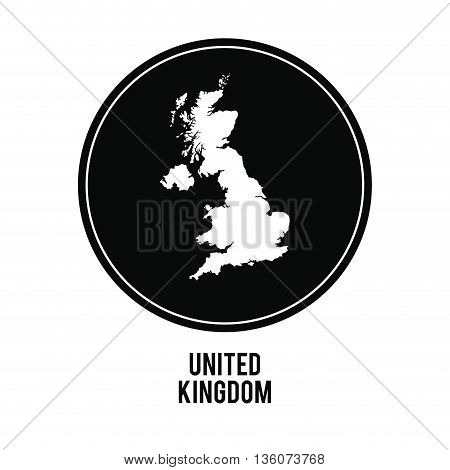 United kingdom concept represented by map over black circle icon. isolated and flat illustration