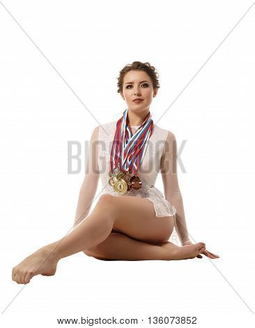 Sport. Image of successful rhythmic gymnast with medals