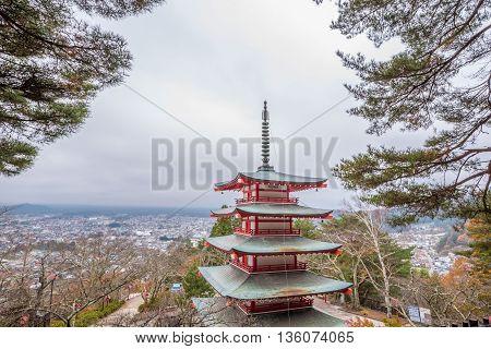 Chureito the red pagoda in Fujiyoshida Japan.