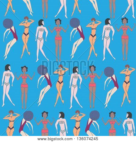 Summer seamless pattern of doodled women and girls in swimsuits enjoying holidays on the beach. Vector illustration.