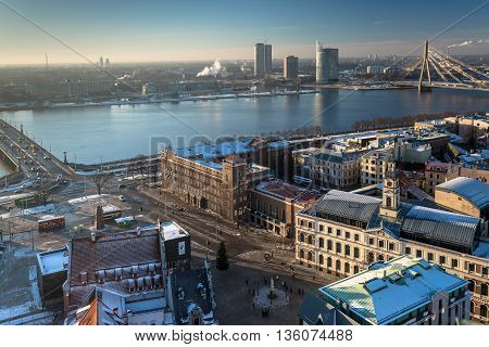 RIGA, LATVIA - DECEMBER 30 2015: Riga from a bird's eye view at winter