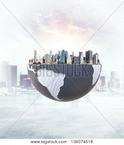 Urbanization concept with globe and city on abstract background with sunlight. 3D Rendering.
