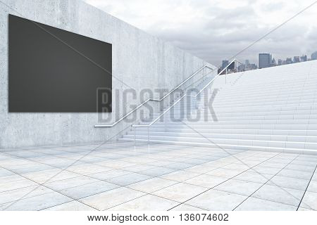 Black Billboard And Stairs