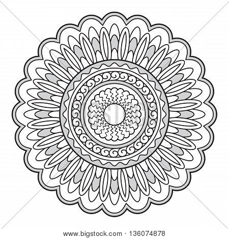 Mandala with hand drawn elements. Image for tattoo decorate porcelain ceramics cups crockery dishes. eps 10