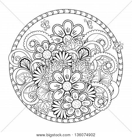 Hand drawn tangled flowers in the mandala. Image for adult coloring book decorate plates porcelain ceramics crockery. eps 10