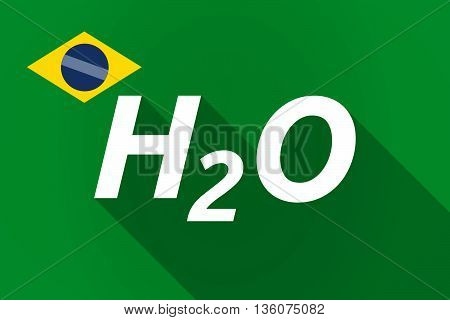 Long Shadow Brazil Flag With    The Text H2O