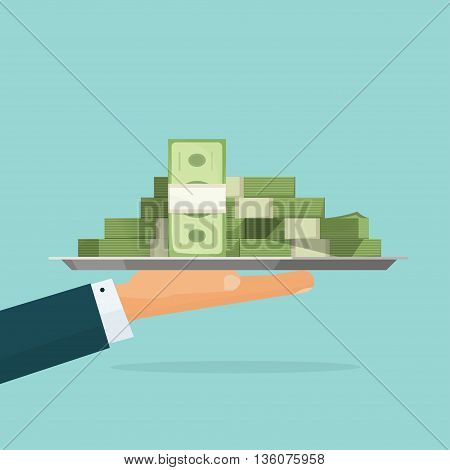 Business man hand holding tray with big pile of money vector symbol illustration