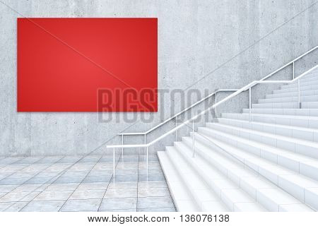 Red Billboard And Staircase