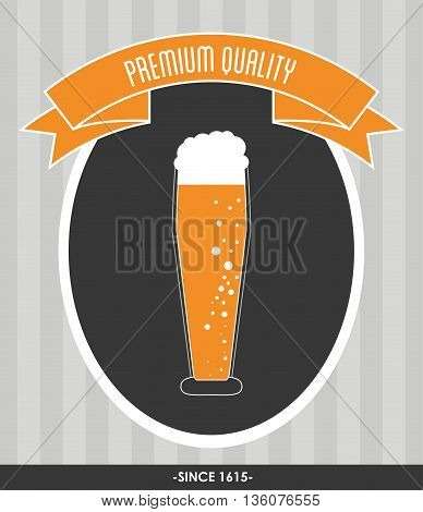 Drink and beverage concept represented by beer glass over seal stamp with ribbon icon. Colorfull and flat illustration