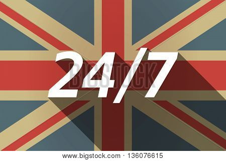 Long Shadow Uk Flag With    The Text 24/7