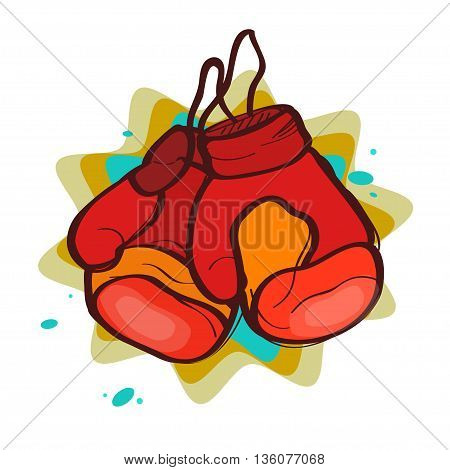 two red boxing gloves on an abstract background