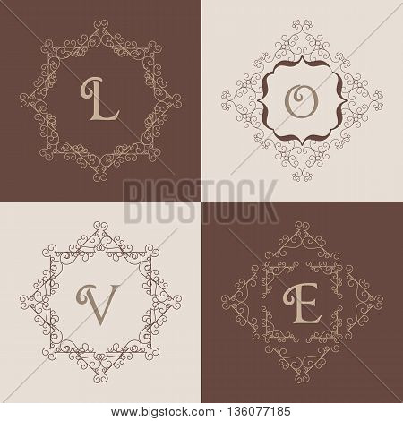 Set of monogram logo template with flourishes calligraphic elegant ornament frames