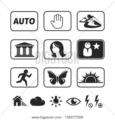 Digital camera modes icons. Editable vector set
