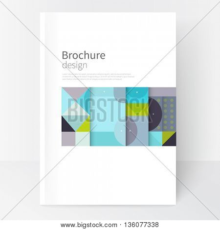 Flat stile Minimalistic cover template. concept  cover for catalog, report, brochure. Pastel color turquoise, gray & green geometric background. Simple geometric shapes. Squares, triangles & circles
