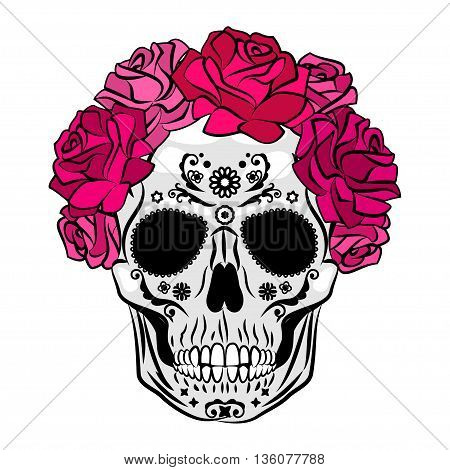 Human skull with makeup. Mexican Catrina skull makeup. Senorita in Day of the Dead. Vector illustration