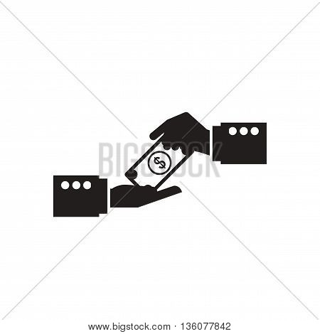 Flat icon black and white  money in hand