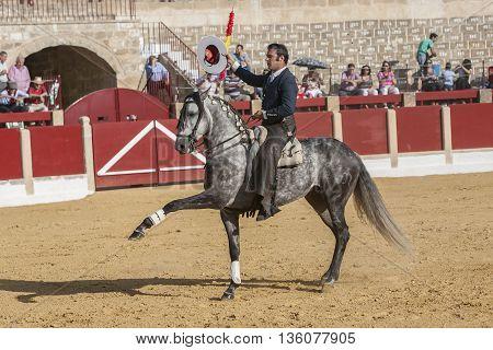Ubeda SPAIN - September 29 2011: Alvaro Montes bullfighter on horseback spanish Ubeda Jaen Spain