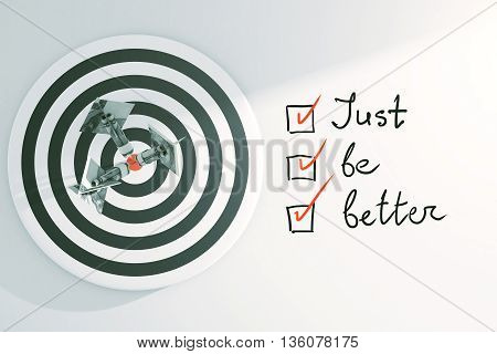 Targeting concept with dartboard dollar banknote darts and 'just be better' to-do list with checkmarks on light background. 3D Rendering