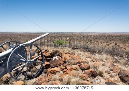 Replica of canon used at Magersfontein battlefield near Kimberley in Northwest Province South Africa