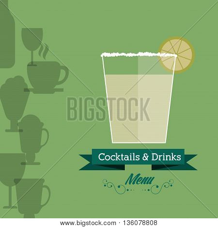 Drink and beverage concept represented by cocktail glass with ribbon icon. Background of glasses icon set. Colorfull and flat illustration