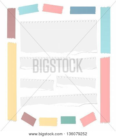 Ripped white blank notebook paper sheets, colorful masking tapes frame are stuck on white background.