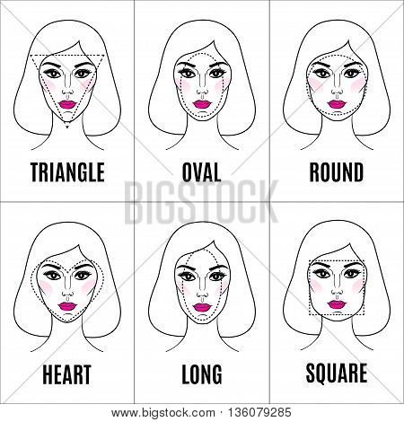 Various types of female faces. Set of different face shapes. Collection of woman faces. Vector illustration