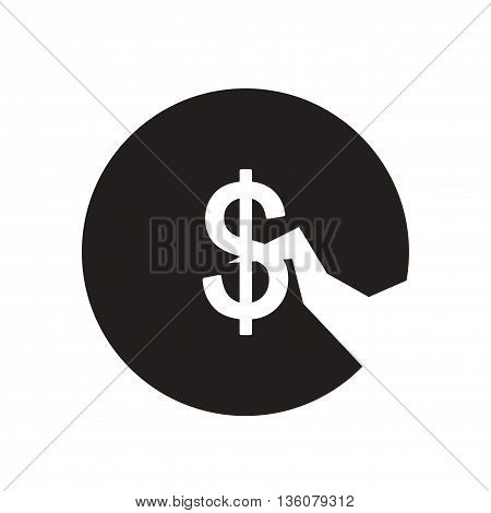 Flat icon in black and white  coin crack
