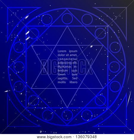Star in deep blue sky in sacral geometry style. Cosmic star of David. Spirituality in art design of sacral geometry. Vector art.